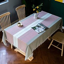 QIZIFAFA Stripe Tablecloths, Cotton Linen