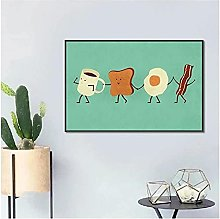 QJIAHQ Cute Cartoon Style FUUNY Breakfast Canvas