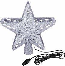 QKU 3D Hollow Star Christmas Tree Topper LED