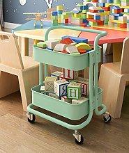 QLIGHA Green Kitchen Storage Cart 2-Tier Rolling