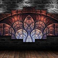 QMCVCDD 5 Panel Wall Art Canvas Abstract Fractal