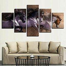 QMCVCDD 5 Panel Wall Art Canvas Animal Horses Race