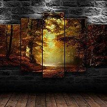 QMCVCDD 5 Panel Wall Art Canvas Autumn Forest