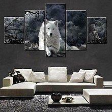 QMCVCDD 5 Panel Wall Art Canvas Black & White Wolf