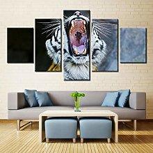 QMCVCDD 5 Panel Wall Art Canvas Cat Tiger Animal
