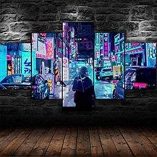 QMCVCDD 5 Panel Wall Art Canvas City Japan Night
