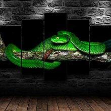 QMCVCDD 5 Panel Wall Art Canvas Green Pit Viper