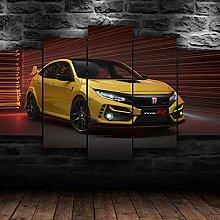 QMCVCDD 5 Panel Wall Art Canvas Honda Civic Type R