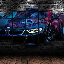 QMCVCDD 5 Panel Wall Art Canvas I8 Car Modern