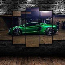 QMCVCDD 5 Panel Wall Art Canvas Lamborghini Green
