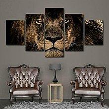 QMCVCDD 5 Panel Wall Art Canvas Lion Animal Nature