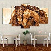 QMCVCDD 5 Panel Wall Art Canvas Loving Horses