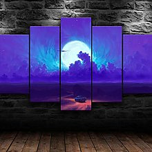 QMCVCDD 5 Panel Wall Art Canvas Moonrise Minimal