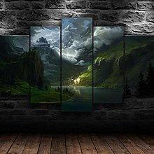 QMCVCDD 5 Panel Wall Art Canvas Mountain Lake