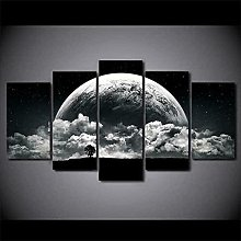 QMCVCDD 5 Panel Wall Art Canvas Planet And Black