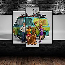 QMCVCDD 5 Panel Wall Art Canvas Scooby Doo 3D