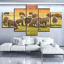 QMCVCDD 5 Panel Wall Art Canvas Sunset Flock Sheep