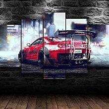 QMCVCDD 5 Panel Wall Art Canvas Toyora Supra Super