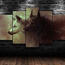QMCVCDD Prints On Canvas 5 Piece Wall Art Print