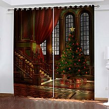 QMGLBG Blackout Curtains 2 Panels Set Christmas