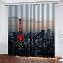 QMGLBG Blackout Curtains 2 Panels Set City skyline