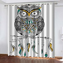 QMGLBG Blackout Curtains 2 Panels Set Colorful owl
