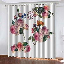 QMGLBG Blackout Curtains 2 Panels Set Pink peony