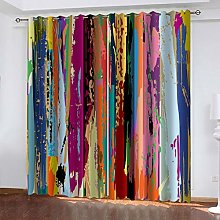 QMGLBG Blackout Curtains 2 Panels Set Retro