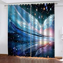 QMGLBG Blackout Curtains 2 Panels Set Starry angel