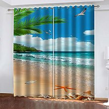 QMGLBG Blackout Curtains 2 Panels Set Summer beach