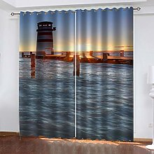 QMGLBG Blackout Curtains 2 Panels Set Sunset