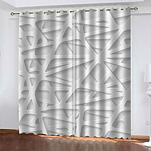 QMGLBG Blackout Curtains 2 Panels Set White line