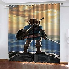 QMGLBG Blackout Curtains Super Soft Game hero