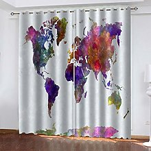 QMGLBG Blackout Curtains Super Soft Painted world