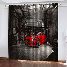 QMGLBG Blackout Curtains Super Soft Red car
