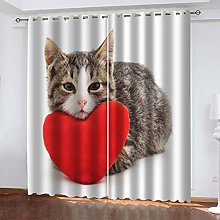 QMGLBG Blackout Curtains Super Soft Red heart cat