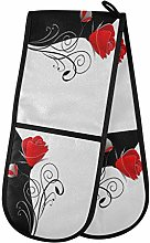 QMIN Double Oven Mitts Beauty Black White Red Rose