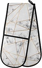QMIN Double Oven Mitts Geometric Gold Lines Marble
