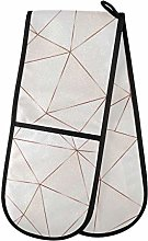 QMIN Double Oven Mitts Geometric Rose Gold Lines