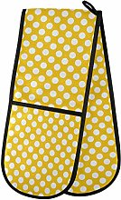 QMIN Double Oven Mitts Polka Dot Yellow Backgound