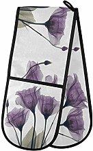 QMIN Double Oven Mitts Purple Tulip Flower Pattern