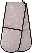 QMIN Double Oven Mitts Rose Gold Marble Print