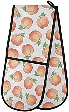 QMIN Double Oven Mitts Watercolor Pink Fruit Peach