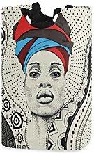 QMIN Laundry Basket African Woman Turban Geometric