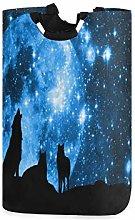 QMIN Laundry Basket Animal Wolf Galaxy Star Moon