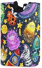 QMIN Laundry Basket Art Painting Monster Rocket