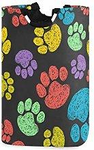 QMIN Laundry Basket Colorful Animal Dog Paw Print