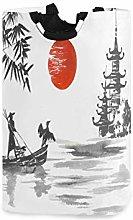 QMIN Laundry Basket Japanese Sunset Art Painting