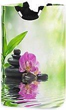 QMIN Laundry Basket Japanese Zen Orchid Bamboo
