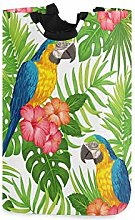 QMIN Laundry Basket Macaw Parrot Palm Leaves